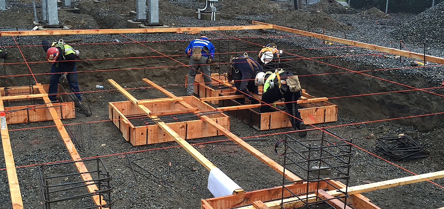 Artistic Concrete new industrial concrete foundation frame and pour in North Bend, Washington.